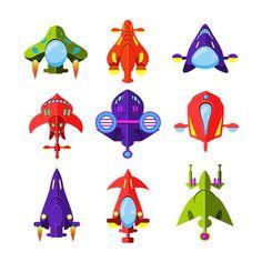 Cartoon Rockets and Spaceships  by TopVectors on @creativemarket