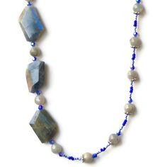 Long Asymmetrical Chunky Gray Blue Silver Necklace/ by ALFAdesigns, $59.99