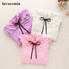 Buy now Spring Autumn Kids Girls Shirts Baby Girls Clothes Girl Long Sleeve Cotton Girl Shirt And Blouse Lace Bow T Shirt Tops JW0477 just only $10.15 with free shipping worldwide  #girlsclothing Plese click on picture to see our special price for you