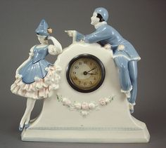 German Art Deco 1930s Clown Pierrot Clock
