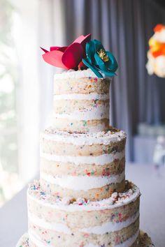 Naked funfetti wedding cake! we ❤ this! moncheribridals.com #weddingcake #nakedweddingcake