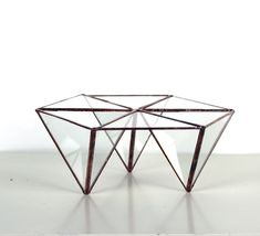Trendy Modern Geometric Hexagon Glass Terrarium - Stained Glass Decor - Home Decor Good things come in glass! There are 3 open triangular compartments for your plants with 3 other solid tops to form a hexagon. Display your favorite plants in this simple and contemporary, elegant tabletop