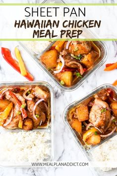 Aloha to your new favorite meal prep lunch - Sheet Pan Hawaiian Chicken is here to wake up your boring lunch routine. Aloha to your new favorite meal prep lunch - Sheet Pan Hawaiian Chicken is here to wake up your boring lunch routine. Lunch Meal Prep, Meal Prep Bowls, Easy Meal Prep, Healthy Meal Prep, Healthy Lunches, Healthy Eats, Chicken Meal Prep, Chicken Recipes, Meal Prep For Beginners