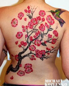bird&flower watercolor tattoo on the full back - plum blossom, nch by Michael Kozlenko