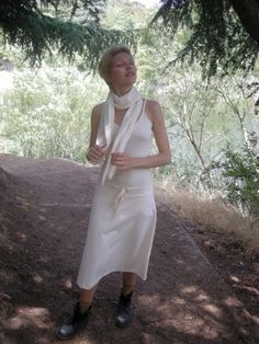 Organic cotton skirt, camisole and scarf at Franklin Canyon, Beverly Hills, CA.