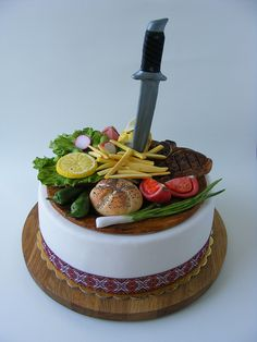 Steak with vegetales cake | Flickr - Photo Sharing! - For all your cake decorating supplies, please visit craftcompany.co.uk