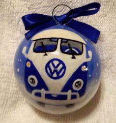 Volkswagen VW Split Window Bus BLUE Hand Painted Christmas Gourd Ornament #3