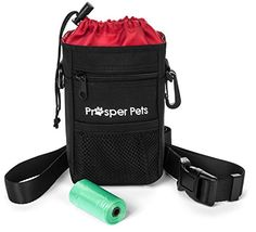 Dog Agility Equipment - Prosper Pets Dog Treat Pouch with Poop Bag Dispenser  Ideal for Carrying Treats and Toys  Adjustable Waist Belt 2350 Includes Roll of Waste Bags  Black ** See this great product. (This is an Amazon affiliate link)