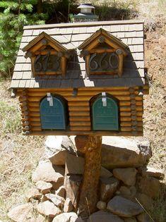 This is sooo Tahoe! Log home mail box!