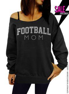 Football Mom - Black with Silver Slouchy Oversized Sweatshirt by DentzDesign http://ift.tt/1efagzb #summer