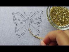 bordado a mano mariposa con cuentas increíble idea cuentas trabajo mariposa con cuentas ~ handstickerei erstaunliche perlen schmetterling idee perlen arbeiten perlen schmetterling Bead Embroidery Tutorial, Border Embroidery Designs, Bead Embroidery Patterns, Butterfly Embroidery, Bead Embroidery Jewelry, Ribbon Embroidery, Beading Patterns, Bead Sewing, Beaded Brooch