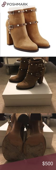Valentino Rockstud Booties Valentino Rockstud Tan Suede Chunky Heel Booties Valentino Shoes Ankle Boots & Booties