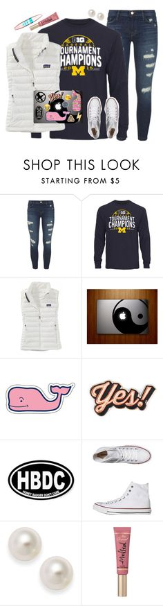 """""""Hola chicas✌️"""" by highheel-hannah ❤ liked on Polyvore featuring J Brand, Patagonia, Vineyard Vines, Anya Hindmarch, Lilly Pulitzer, Converse, Too Faced Cosmetics and Maybelline"""