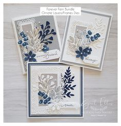 Blue Rose Paper Treasures: Forever Fern Ornate Layers Cards Make Up Artist Ausbildung, Leaf Cards, Stamping Up Cards, Rubber Stamping, Marianne Design, Cards For Friends, Paper Cards, Flower Cards, Paper Flowers