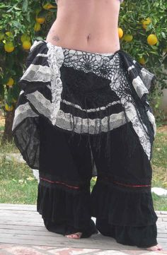 Tribal Belly Dance Gothic Victorian Ruffle Bloomers Black\/Red