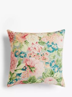 Sanderson Rose & Peony Cushion, Raspberry at John Lewis & Partners Fabric Blinds, Curtains With Blinds, Floral Furniture, Sanderson Fabric, House On A Hill, Floral Fabric, Peonies, Raspberry, Blue Green