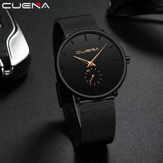 CUENA Luxury Brand Men's Wristwatch Quartz Watch Men Waterproof Black Stainless Steel Relogio Masculino Montre Homme Male Clock Outfit Accessories From Touchy Style Fitness Watches For Women, Cheap Watches For Men, Simple Watches, Stylish Watches, Cool Watches, Man Watches, Black Watches, Sport Watches, Best Affordable Watches