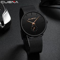 CUENA Luxury Brand Men's Wristwatch Quartz Watch Men Waterproof Black Stainless Steel Relogio Masculino Montre Homme Male Clock