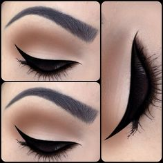 Eyeliner looks, winged liner, apply eyeliner, matte makeup, matte eyeshadow Cat Eye Makeup, Eye Makeup Tips, Makeup Goals, Skin Makeup, Makeup Inspo, Makeup Inspiration, Eyeliner Makeup, Makeup Brushes, Eyeliner Ideas