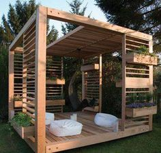 Landscaping And Outdoor Building , Elegant Modern Gazebo : Wooden Modern Gazebo With Boxes Planter And Hanging Chair And Bean Bag Chairs