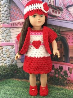Crochet Pattern Valentine Outfit - Adoring Doll Clothes : Free Crochet Pattern Valentine Outfit Adoring Doll Clothes Crochet Pattern Valentine Outfit Posts - free valentine crochet pattern for dolls, doll dress, doll hat, doll shoes Doll Shoe Patterns, Crochet Dolls Free Patterns, Clothing Patterns, Free Crochet, Knitting Patterns, Crochet Toys, Crochet Ideas, Crochet 101, Easy Patterns