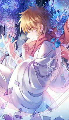 Yukine, flowers, bandages, kimono; Noragami