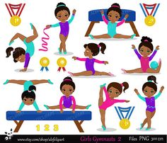 Gymnastics Girls Digital Clipart Set African american