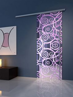 sliding purple glass door