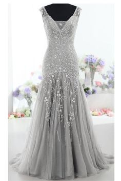Cheap tulle evening dress, Buy Quality evening dresses long directly from China evening dress Suppliers: V-neck Gray Tulle Evening Dress Long 2018 Sheer Sleeveless Mermaid Prom Dresses Formal Evening Party Gowns Women Pageant Dress Mob Dresses, Modest Dresses, Cheap Dresses, Pretty Dresses, Beautiful Dresses, Formal Dresses, Fall Dresses, Gray Long Dresses, Formal Wear