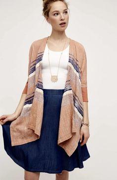 e3f114e210d NEW Anthropologie Elevenses clay nude blue ivory Stripe Kimono Jacket Shawl  M L