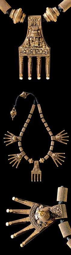 India ~ Chettinad | Marriage necklace ~ 'kaluthiru' ~ gold. | ca. 19th century || Musée Barbier-Mueller, Geneva