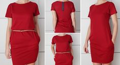 Pattern dress with cap sleeves (Sewing and cutting) - Journal Inspiration Needlewoman Easy Dress, Simple Dresses, Dress Sewing Patterns, Blouse Patterns, Pattern Dress, Diy Vestido, Cocoon Dress, Sewing Blouses, Plus Size Patterns