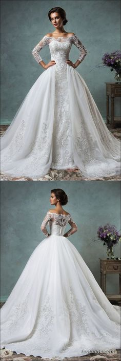 Elegant Tulle Sleeve 2016 Wedding Dress Lace Appliques Ball Gown – red semi dresses, best dresses, ladies dresses with sleeves *ad Wedding Dress 2018 2016 Wedding Dresses, Bridal Dresses, Wedding Gowns, Tulle Wedding, Prom Dresses, Wedding Dress Sleeves, Long Sleeve Wedding, Dress Lace, Slit Dress