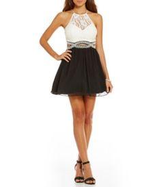 B. Darlin Beaded Infinity Waist Lace-Bodice Color Block Dress #Dillards