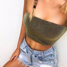Summer Party Outfit Sexy Glitter Tube Crop Top Sleeveless Wrap Bra Top – Lupsona