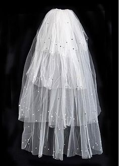 In Stock Charming Tulle Wedding Veil With Handmade Flowers - Adasbridal.com