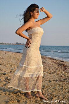 Ivory Lacen Net Bohemian Wedding Dress / Bridal Wedding Gown / Handmade by SuzannaM Designs. $440.00, via Etsy.