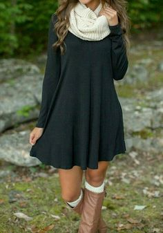 30 Cute And Cheap Fall Dresses Finding cheap fall dresses is the easiest way to up your style for the fall season. From sweater dresses to florals, here are the 30 fall dresses you need! Mode Outfits, Casual Outfits, Fashion Outfits, Womens Fashion, Fashion Trends, Outfits With Boots, Dresses With Boots Fall, Fashion News, Classy Fall Outfits