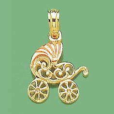 14k Two-tone Gold Novelty Charm Pendant, Flat 2D Baby Stroller With Pink Visor -- Click on the image for additional details. (This is an Amazon Affiliate link and I receive a commission for the sales)