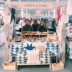 Forest and Found - cool craft fair stall display and interesting way to display cushions