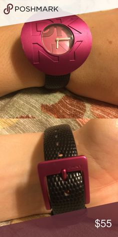 DKNY watch, black and fuschia VGUC DKNY Accessories Watches