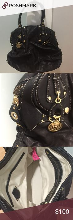 Juicy Couture Black Leather Handbag Stunning Juicy Couture Black Leather Handbag.  Authentic / Pre-Owned- Excellent Condition -Like New (As shown in images) / Dust Bag NOT Included     Suitable Offers are Always Considered! Juicy Couture Bags Shoulder Bags