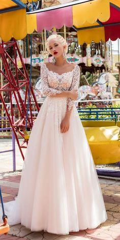 Pollardi Fashion Group: Daria Karlozi 2018 Wedding Dresses ❤️ daria karlozi 2018 wedding dresses a line blush sweetheart neck long sleeves lace free camelia ❤️ See more: http://www.weddingforward.com/daria-karlozi-2018-wedding-dresses/ #weddingforward #wedding #bride #bridalgown #weddingdresses2018