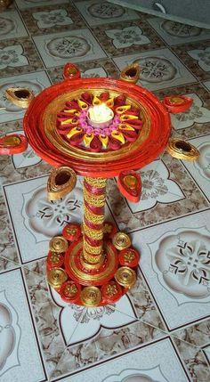 Craft Arti Thali Decoration, Ganpati Decoration At Home, Ganapati Decoration, Crafts To Do, Crafts For Kids, Arts And Crafts, Paper Roll Crafts, Diy Paper, Handmade Rakhi