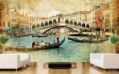 Boğaz Köprüsü Gold Modern Duvar Kağıdı