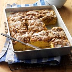 "Pecan Coffee Cake Recipe -""Mom serves this nutty coffee cake for Christmas breakfast each year,"" shares Becky Wax of Tuscola, Illinois. ""The simple recipe is a big time-saver on such an event-filled morning. Everyone loves the crunchy topping."""
