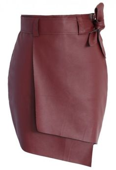 Bowknot Faux Leather Flap Skirt
