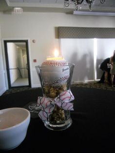 Baseball wedding centerpiece for cocktail area