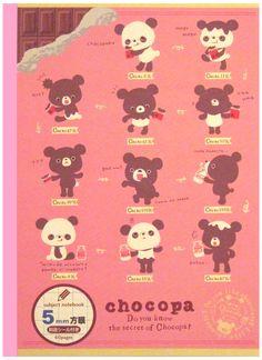 San-x Choco Panda Pink Graph Notebook w/ Stickers