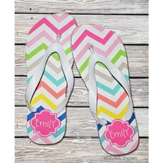 1903af9239cb7 Personalized Flip Flops by Lipstick Shades - Multi Chevron ( 42.95) Wedding  Gifts Online